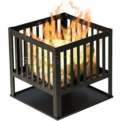 £29.95 • Buy Square Fire Basket BBQ Grill Heater Outdoor Garden Firepit Brazier Patio Outside