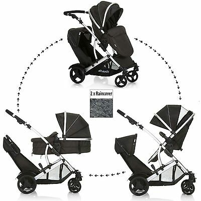 New Hauck Duett 2 Double Tandem Twin Pushchair Pram Stroller Buggy+2 Raincovers • 259.99£