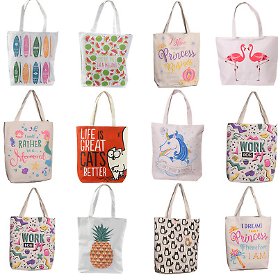 Cotton Zip Lining Reusable Womens Shopping Bag Shopper Handles Tote Beach Bags • 4.95£