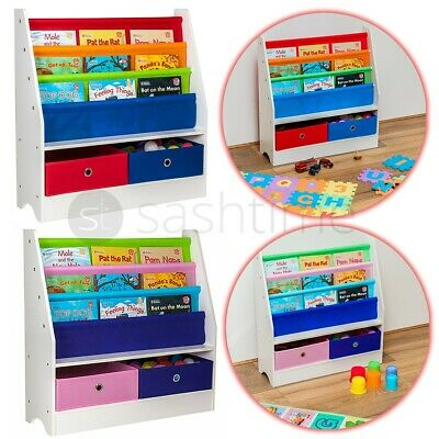 Children Kids Book Shelf Sling Storage Rack Organizer Bookcase Bookshelf Wooden  • 29.95£