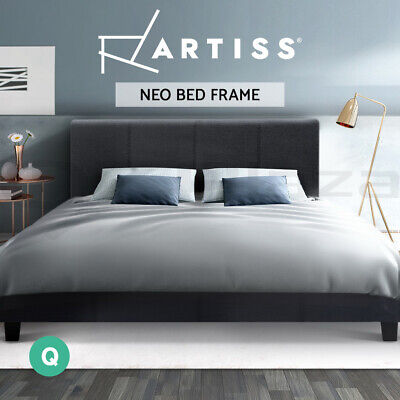 AU142.95 • Buy Bed Frame Queen Full Size Base Mattress Platform Fabric Wooden Charcoal NEO