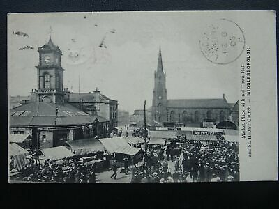 £17.50 • Buy Yorkshire MIDDLESBOROUGH MARKET DAY Market Place & Old Town Hall C1905 Postcard