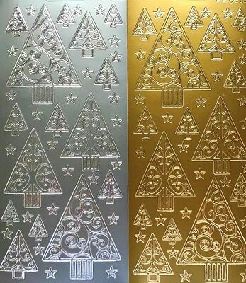 £1.57 • Buy Christmas Trees Peel Off Sticker Sheet Silver Gold Card Making Craft