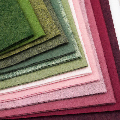 Woolfelt ~ 22cm X 90cm ~ Rambling Rose / Wool Felt Fabric Pink Green Heathered • 3.25£