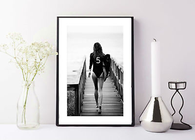 £4.50 • Buy Surf Poster Black And White * Aerial Beach Photo Surf Print Chanel Board