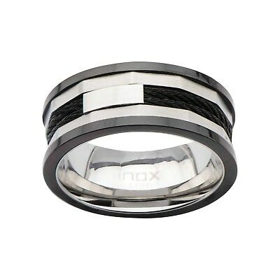 $39.95 • Buy Men's Inox Silver Black Ip 316l Stainless Steel Cable Inlay Ring Size 13 Fr1027