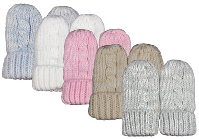 £2.85 • Buy Baby Mittens Mitts Gloves Knitted Cable Knit Winter Warm Girl Boy