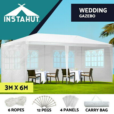 AU104.90 • Buy Instahut Gazebo 3x6 Outdoor Marquee Side Wall Party Wedding Tent Camping White
