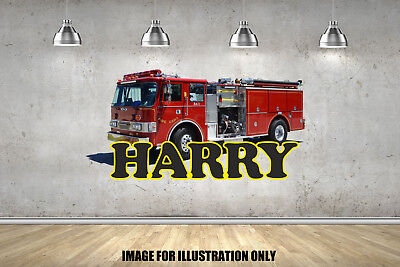 £15.99 • Buy Fire Engine Personalised Name Text Childrens Wall Stickers Kids Wall Art Vinyl