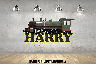Steam Train Personalised Name Text Childrens Wall Stickers Kids Wall Vinyls • 15.99£