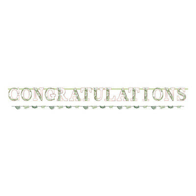 WEDDING AND BRIDAL Love And Leaves JUMBO BANNER ~ Party Supplies Decoration Pink • 5.06£