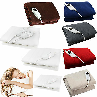 Electric Heated Throw Over Under Blanket Washable Polyester Cozy Warm Mattress • 13.99£