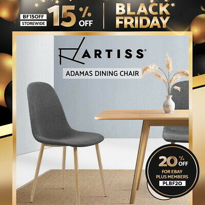 AU119.95 • Buy Artiss Dining Chairs Fabric Seat Kitchen Cafe Chair Modern Iron Dark Grey X4