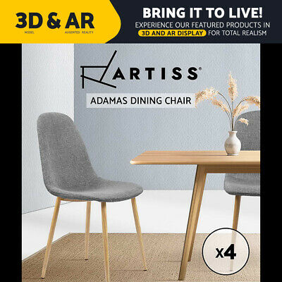 AU139.95 • Buy Artiss Dining Chairs Fabric Chair Seat Kitchen Cafe Modern Iron Light Grey X4