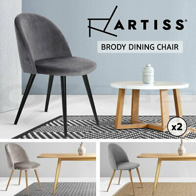AU102.95 • Buy Artiss Dining Chairs Chair Fabric Velvet Cafe Modern Seat Grey Black Set Of 2