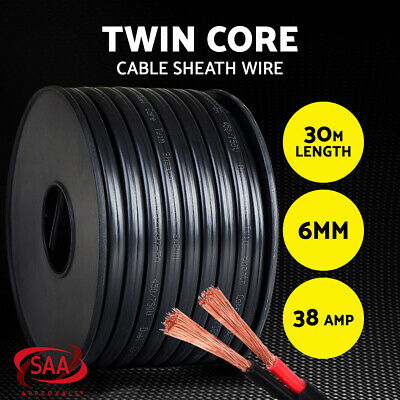 AU77.95 • Buy 6MM Electrical Cable Electric Twin Core Extension Wire 30M Car 450V 2 Sheath