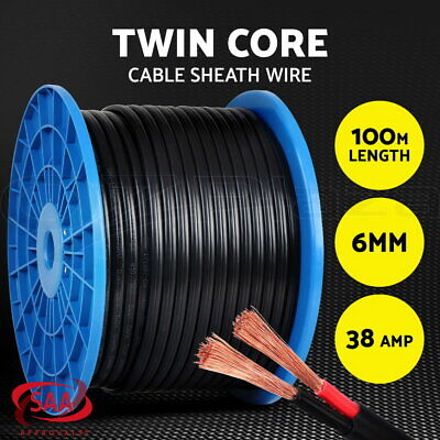 AU209.90 • Buy 6MM Electrical Cable Electric Twin Core Extension Wire 100M Car 450V 2 Sheath