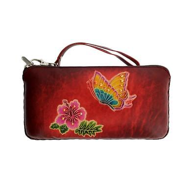 $32 • Buy Butterfly Flower Leather Wallet Clutch Or Wristlet Coin Purse Makeup Bag