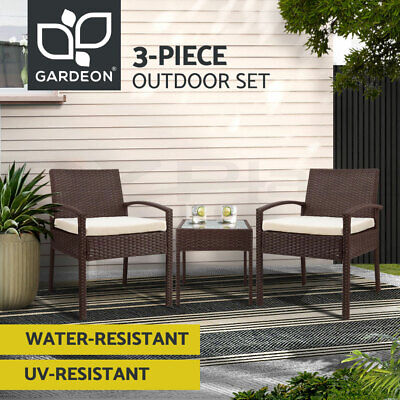 AU169.90 • Buy Gardeon Outdoor Furniture 3 Piece Wicker Chairs Set Lounge Setting Patio Cushion