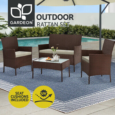 AU269.95 • Buy Gardeon Garden Furniture Outdoor Lounge Setting Rattan Set Patio Chairs Table