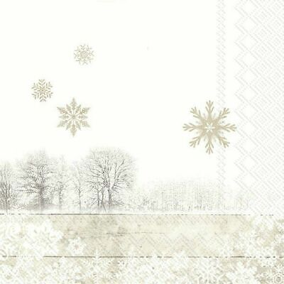SILENT WINTER DAY Linen Trees Christmas Paper 33cm Square 3 Ply Napkins 20 Pk • 4.74£