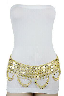 Women Ethnic Style Belt Gold Metal Chain Coin Belly Dance Hip Bling Size M L XL • 32.77£