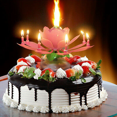 $ CDN1.53 • Buy US Candle Musical Rotating  Flower Cake  Party Birthday Lamp Pink -1