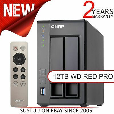 QNAP 2 Bay Desktop NAS Unit│12TB WD RED PRO Drives│Storage Device With 2GB RAM • 925.05£