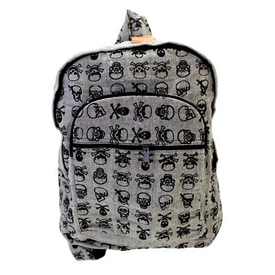 £27.70 • Buy Gray Cotton Fabric Backpack With Skulls And Crossbones School Book Bag
