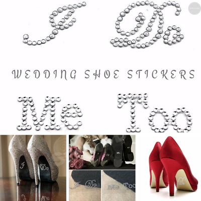 Wedding Shoe Sticker Decal, I Do & Me Too Rhinestone Bling Sparkle Silver Gold • 5£