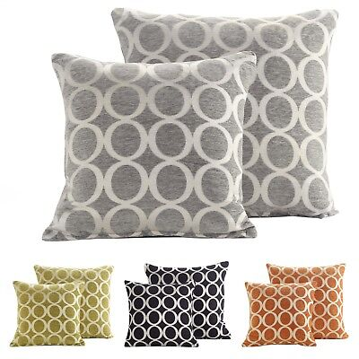 £6.95 • Buy Modern Soft Rich Chenille Woven Circle Jacquard Design Large Scatter Cushion