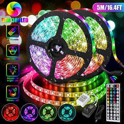 $13.97 • Buy 5M 16.4ft RGB Waterproof 300 LED 3528 SMD Flexible Strip Light 12V+Remote+Power