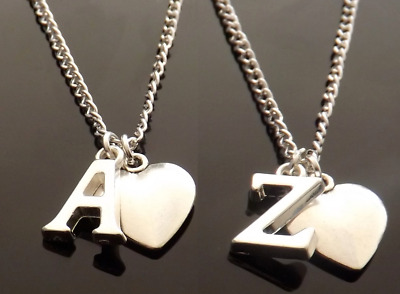 £2 • Buy 16-30 Inch Long Silver Plated Necklace With Heart Pendant And Initial Letter