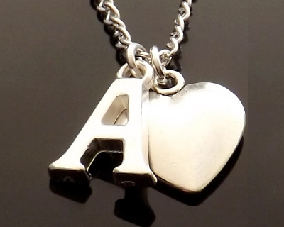 £2.75 • Buy Personalised Initial Silver Plated Necklace With Letter & Solid Heart Pendant