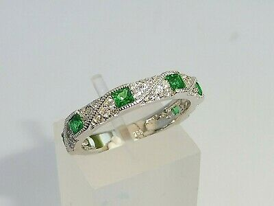 £34.25 • Buy Ladies Art Deco Halo Style 925 Sterling Silver Sapphire & Emerald Eternity Ring