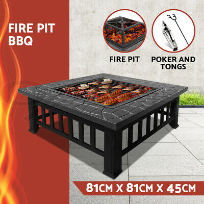 AU139 • Buy Fire Pit BBQ Table Grill Outdoor Garden Wood Burning Fireplace Stove