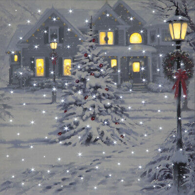 Battery Operated Fibre Optic & LED Christmas House Canvas Xmas Wall Decoration • 14.99£