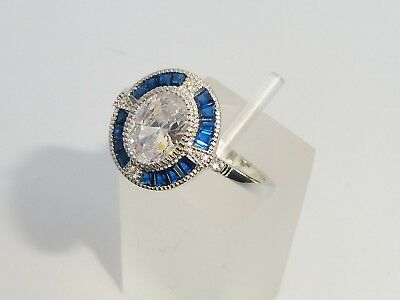 AU65.83 • Buy Ladies Art Deco Halo Design 925 Sterling Solid Silver Blue & White Sapphire Ring