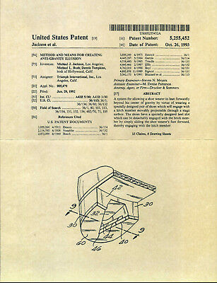 MICHAEL JACKSON 'Smooth Criminal' Leaning Effect Shoe Patent Documents - Reprint • 15£