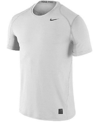 9fe1ee5d8a3 Men s Nike Team Pro Cool Dri Fitted Short Sleeve Top 728066-100 White NEW  Shirt