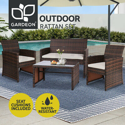 AU319.95 • Buy Gardeon Garden Furniture Outdoor Lounge Setting Wicker Sofa Set Patio Brown