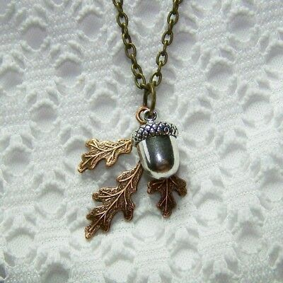 Acorn & Oak Leaf Necklace, Copper & Sterling Acorn, Autumn Jewelry Thanksgiving • 18$