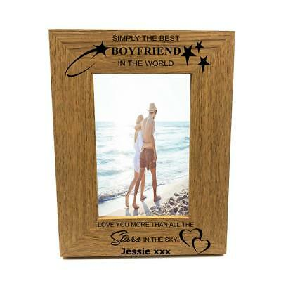 Personalised Best Boyfriend Portrait Wooden Photo Frame Gift FW270 • 11.39£