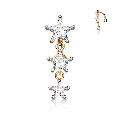 £4.99 • Buy  REVERSE DROP TOP DOWN BELLY BAR WITH 3 CLEAR CRYSTAL Cz STARS PLATED ROSE GOLD