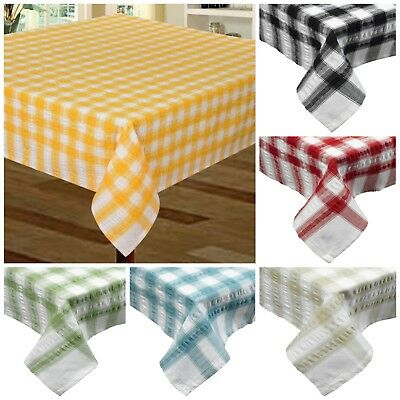£13.95 • Buy Seersucker Check Stripe Gingham Tablecloth Cotton Dining Kitchen Table Linen
