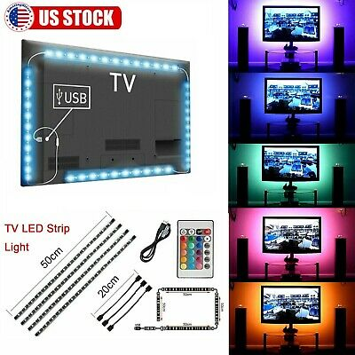$10.97 • Buy 6.6FT TV PC LED Backlight 4pcs USB RGB 5050 Strip Light Remote Kit 5V 30Leds/M