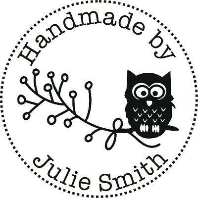 Personalised Handmade By Rubber Stamp (Handmade By 'Your Name') + FREE BLACK PAD • 10.75£