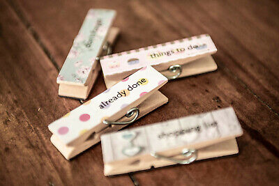 £3.39 • Buy 4x Vintage Wooden Floral Design Fridge Magnet Things To Do Memo Board Clip Pegs