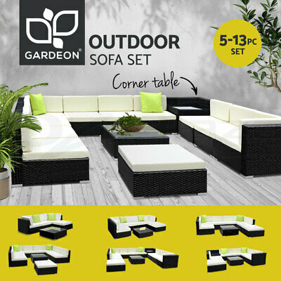 AU349.90 • Buy Gardeon Outdoor Sofa Lounge Setting Couch Wicker Table Chairs Patio Furniture