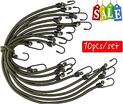 10X Bungee Cords Wires W// Zinc Hooks Cables Straps Bungie Elastic Rope 60Cm UK
